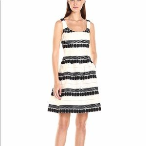 Nine West Jacquard Lace Dress with Pleats